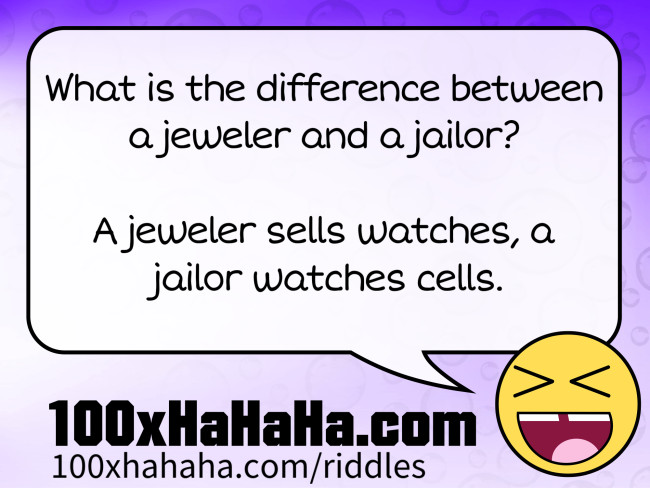 What is the difference between a jeweler and a jailor? / / A jeweler sells watches, a jailor watches cells.