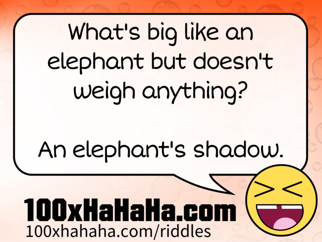 What's big like an elephant but doesn't weigh anything? / / An elephant's shadow.