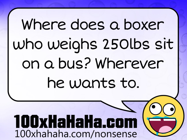 Where does a boxer who weighs 250lbs sit on a bus? Wherever he wants to