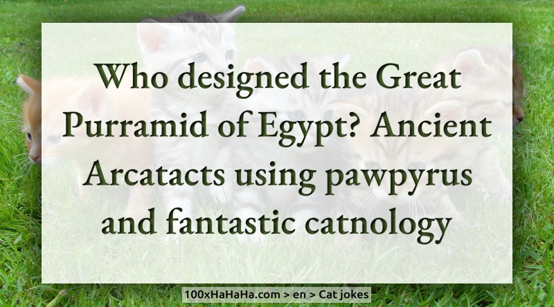 Who designed the Great Purramid of Egypt? Ancient Arcatacts using pawpyrus and fantastic catnology