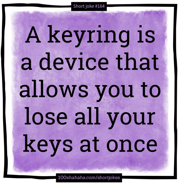 A keyring is a device that allows you to lose all your keys at once
