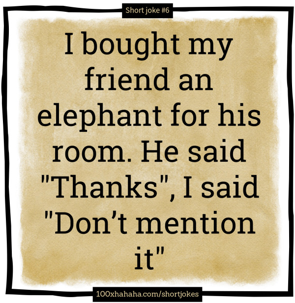 Short jokes: I bought my friend an elephant for his room  He