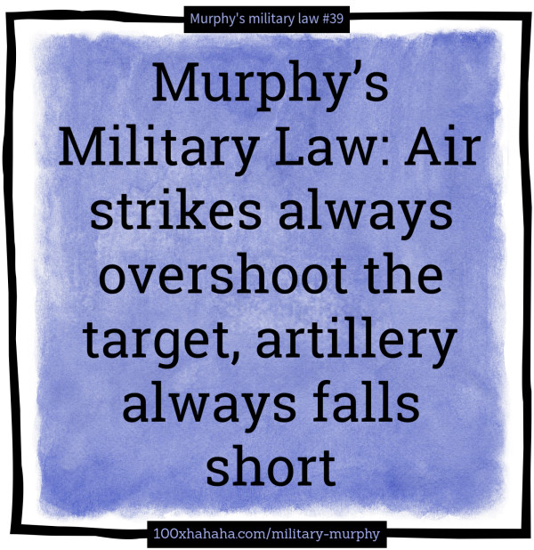 Murphy's Military Law: Air strikes always overshoot the target, artillery always falls short