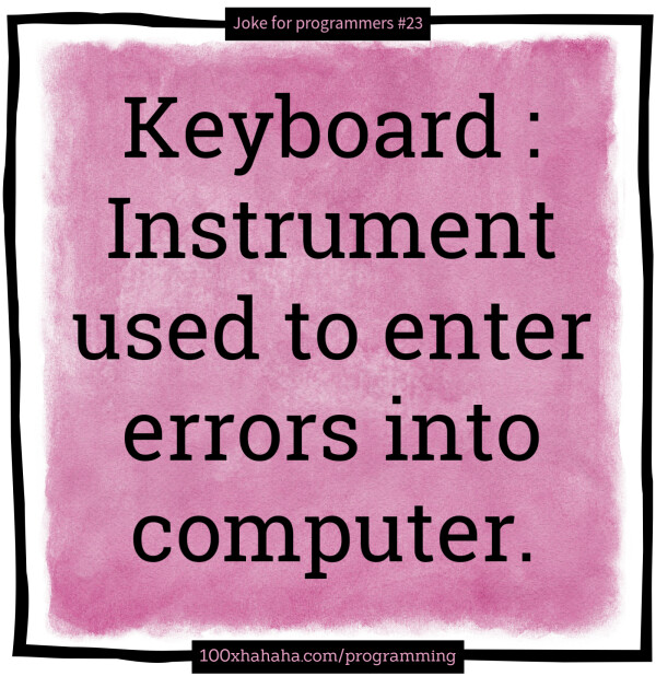 Keyboard : Instrument used to enter errors into computer.
