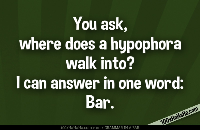 You ask, where does a hypophora walk into? I can answer in one word: Bar.