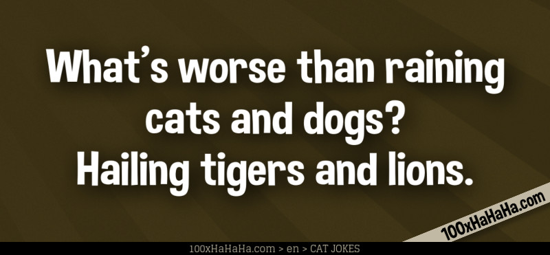 What's worse than raining cats and dogs? Hailing tigers and lions.