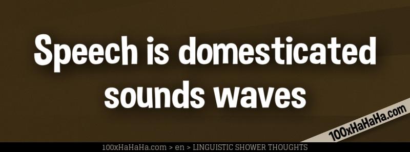 Speech is domesticated sounds waves