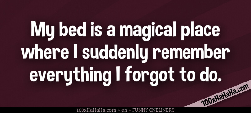 My bed is a magical place where I suddenly remember everything I forgot to do.